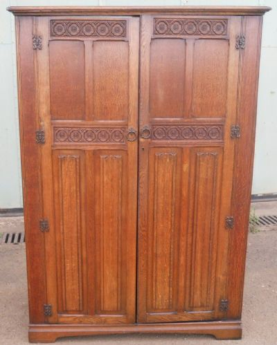Large Oak Carved Wardrobe by Maple & Co